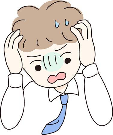 Man in need cartoon style illustration
