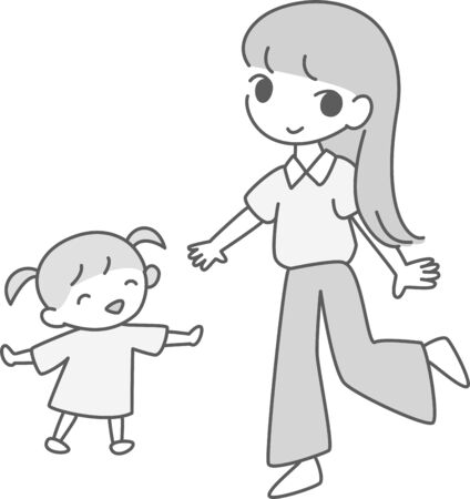 Illustration of fashionable mom and daughter laughing