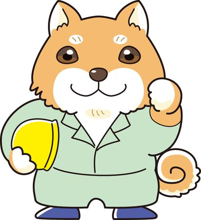 Shiba dog character wearing work clothes