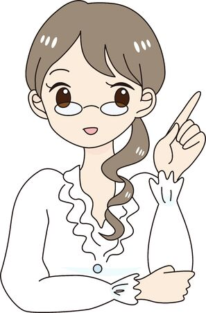 Working woman wearing glasses and pointing finger
