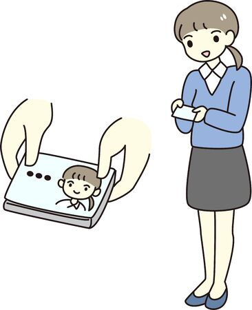 A woman exchanging polite business cards