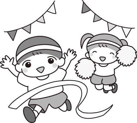 Boy and girl participating in athletic meet Illustration