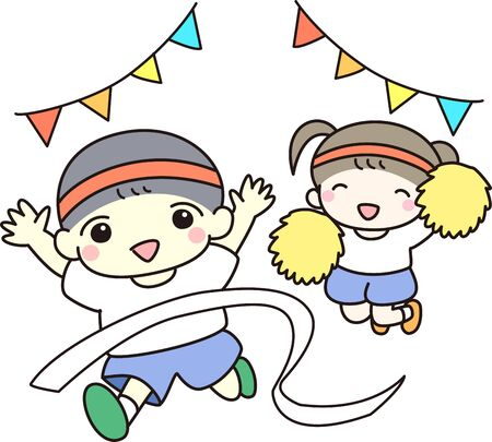 Boy and girl participating in athletic meet Stock Illustratie
