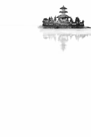 sanctified: A classic monochrome landscape of hinduism temple on the lake with its reflection.