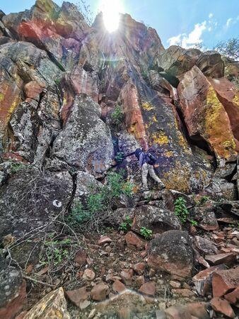 capture of colorfull natural stone wall nature