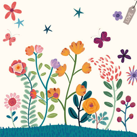 Abstract children's illustration, little lion, owl, flowers, balloons, and leaves