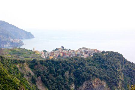 cinque: The village of Corniglia in the Cinque Terre, Italy Stock Photo