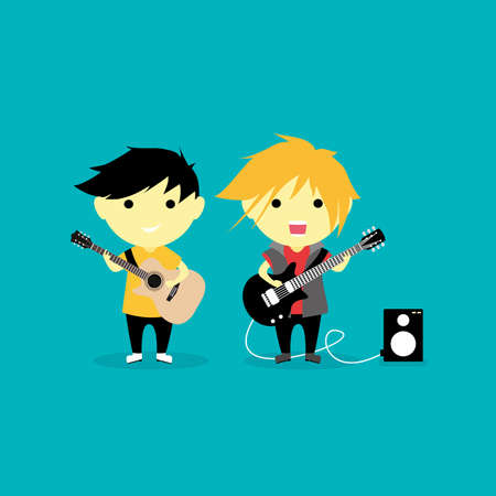 Kids Play Guitar 矢量图像