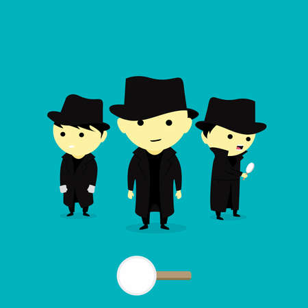Vector Illustration cartooon little Children as Detective funny and cute