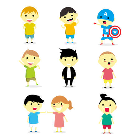 Set Funny Children Vector Illustration 矢量图像