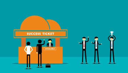 Ticket Success for Businessman vector illustration.