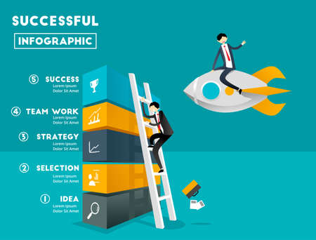 running: Business Graphic and Rocket Illustration