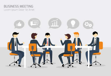 work on computer: Business Meeting