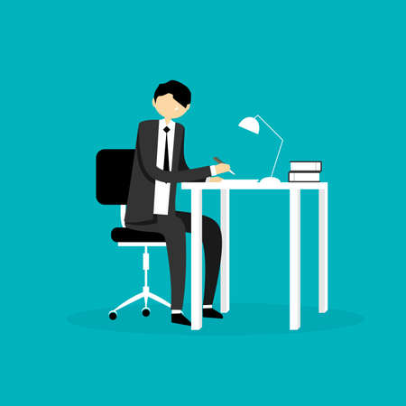 business meeting laptop: Businessman Illustration Illustration