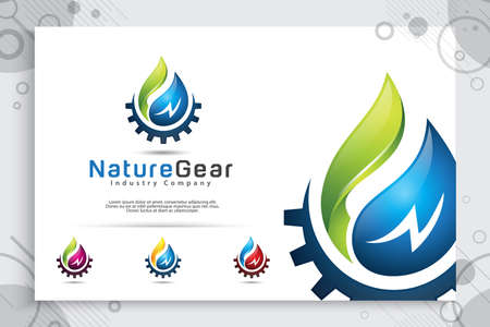 : nature water drop vector logo design with gears cogs concept , illustration of fresh water and gear cog for energy ecology and industrial company Ilustração