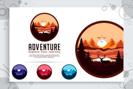 Mountain Adventure vector logo with badge concept design. Template Illustration mountain as a symbol of explorer wild nature