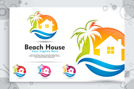 Beach house vector logo with modern concept design, illustration of Palm Tree and house as a symbol of house beach for traveler homestay and lodgment 일러스트
