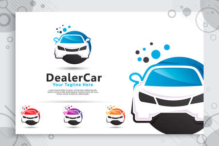 Dealer car vector logo with simple and modern concept, illustration of car use for digital template dealer car shop