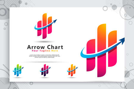 Arrow chart vector logo as a symbol of accounting with modern concept , illustration of arrow chart bar for icon growing and template business company