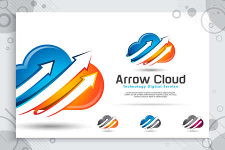 arrow cloud vector logo with modern and colorful concept designs , illustration of arrow cloud as a symbol icon technology and creative digital template