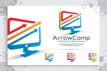 arrow computer vector logo with modern concept design ,  illustration of computer as a symbol of technology and template digital business company service