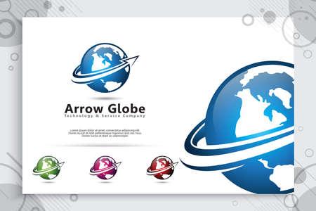 Arrow Globe vector logo with modern concept design , illustration of globe for business digital template