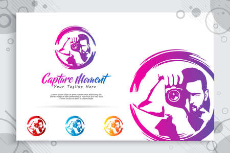 silhouette photography vector logo , illustration of abstract photographer holding lens as a symbol icon of photography service your special moment