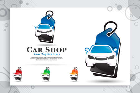 car shop vector logo with modern concept designs, illustration of car and price tag as a symbol and icon of dealer car and digital template app online shop car 矢量图像