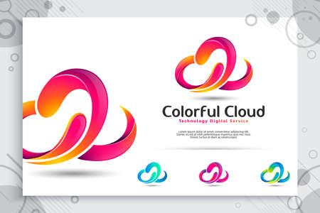 Logotipo de vector de nube colorida 3d con concepto moderno y diseño de color, ilustración abstracta de nube como un servicio de plantilla digital de tecnología de icono de símbolo