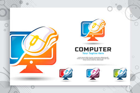 computer mouse vector logo with modern concept designs, illustration of monitor and mouse as a symbol of digital template technology computer business company 矢量图像