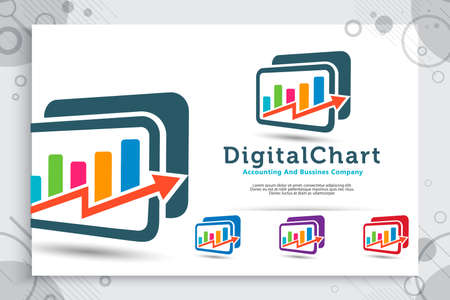 Digital chart vector logo with modern concept designs use for accounting company , illustration of chart and arrow as a symbol icon of growth business corporate