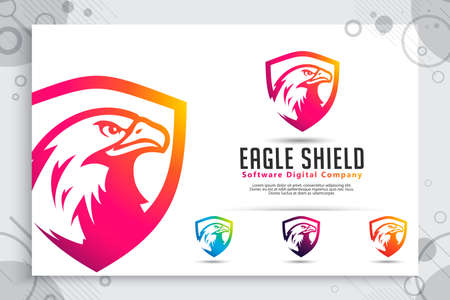 Eagle Shield tech vector logo designs with modern style concept, abstract illustration of bird shield as a symbol of cyber security for digital template company