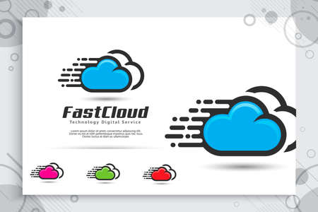 Fast Cloud Data Vector logo for technology data service with modern color and style concept, Illustration of cloud for template and service data digital web 矢量图像