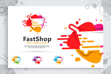 abstract fast trolling vector logo with simple and clean concept designs , illustration of trolling for icon template digital online shop service 矢量图像