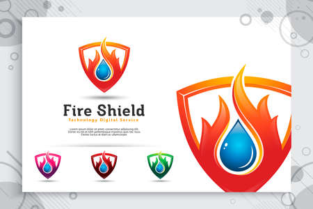 3d fire shield vector logo with modern concept as a symbol of oil and gas , illustration of oil and gas with shield use for icon energy and industry company 矢量图像