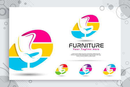 Furniture vector logo with modern and colorful concept designs , minimalist illustration chair , sofa, table as a symbol of furnishings gallery 矢量图像