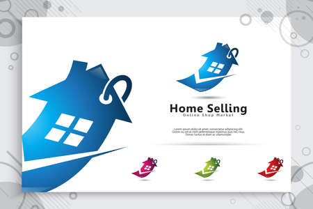 home ticket vector logo with modern and simple style concept for application online shop, illustration of home Sales for symbol of residence home seller service