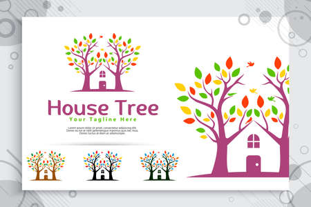 tree house vector logo made from two trees incorporate with house as a symbol icon a residence like village house, can use for template digital 矢量图像