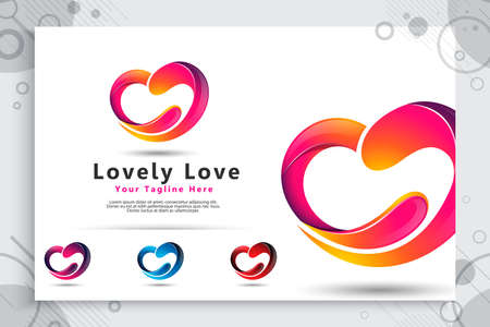 abstract love vector logo with modern style concept , colorful love illustration for digital template or icon software application company