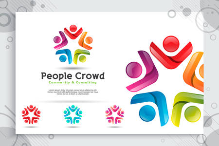 abstract illustration people crowd vector logo with colorful and modern style concept as a symbol icon template of social , community , teamwork , and family