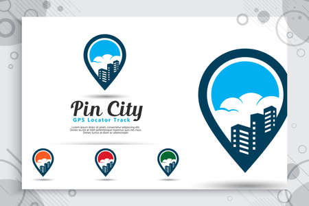 Pin city vector logo with simple style concept, illustration pin map and building can use for icon digital template of travel or gps software application mobile Banque d'images - 119825469