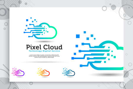 Pixel cloud vector logo with simple and modern style concept, illustration pixel and cloud as a symbol icon of technology digital corporate or software template 矢量图像