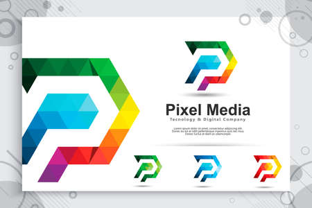 colorful digital pixel letter P vector logo with modern concept , illustration of letter P with pixel concept use for digital template business corporate 矢量图像