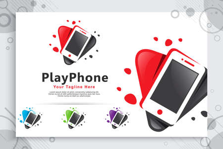 Play phone vector logo with simple style concept , abstract illustration icon play and phone can use for symbol software digital music , audio or video template 矢量图像