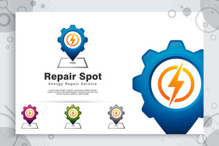 Repair spot electric vector logo with simple concept , creative illustration of icon Gear , electric , and pin map as a symbol off repair electrical corporate