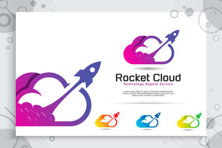 Rocket cloud vector logo with colorful and simple style, illustration cloud and rocket as a symbol icon of digital template technology or software company