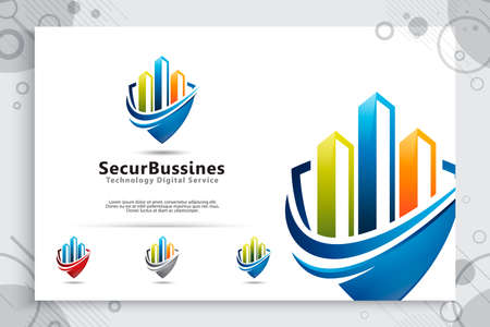 Security Business vector logo with modern color concept ,  illustration of chart and shield as a symbol of digital template accounting and business company