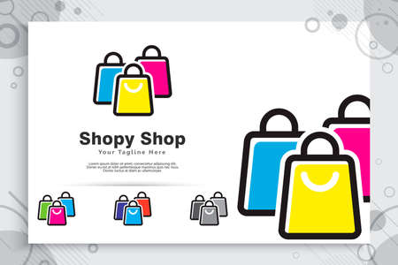 Paper bag vector logo with simple and minimalist concept designs as a symbol of online store can use for digital template in company app online 矢量图像
