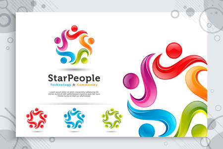 people crowd : abstract illustration star people crowd vector logo with colorful and modern style concept as a symbol icon template of social , community , and family