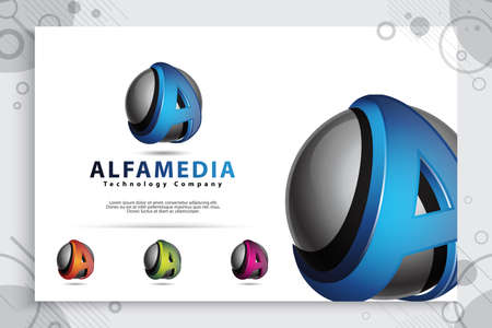 Letter A logo with modern color and 3d style concept. digital illustration of 3d Letter A for business and company indentity. 矢量图像